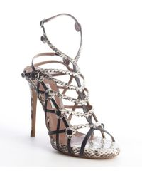 Tabitha Simmons Black and White Leather Snake Printed Strappy Idora Sandals - Lyst