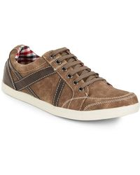 Ben Sherman Knox Leather-Trimmed Faux Suede Sneakers - Lyst