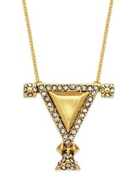 House Of Harlow Gold-tone Crystal Triangle Pendant Necklace - Lyst