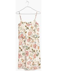Madewell Silk Overlay Cami Mini Dress In Botanical Print - Lyst