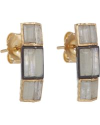 Nak Armstrong White Sapphire Rainbow Moonstone Button Earrings - Lyst
