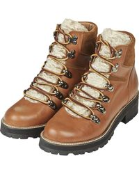 Topshop Womens Ahoy Lace Up Boots Tan - Lyst