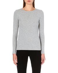 Theory Ribbed Jersey Top Frosted Grey - Lyst