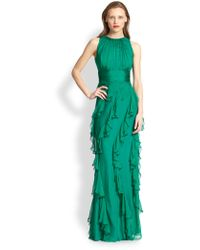 Badgley Mischka Silk Ruffle Gown - Lyst