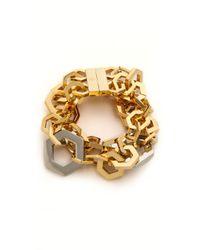 Tory Burch Hexagon Metal Bracelet Shiny Goldtory Silver - Lyst