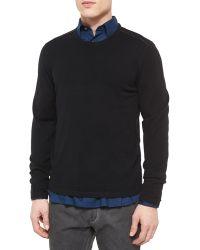 John Varvatos Leather-Trimmed Crewneck Sweater - Lyst