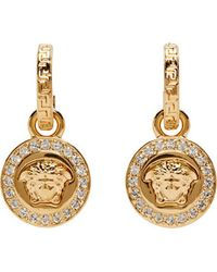Versace Gold and Crystal Medusa Medallion Earrings - Lyst