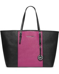 Michael by Michael Kors Jet Set Leather Colorblock Medium Travel Tote Bag - Lyst