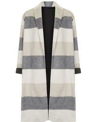 Topshop Striped Wool Blend Duster Jacket - Lyst