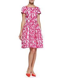 Oscar de la Renta Short-sleeve Printed Fit  Flare Dress - Lyst