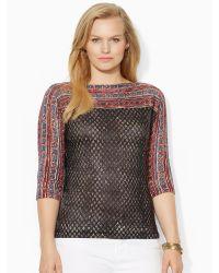 Ralph Lauren Geometric Boatneck Sweater - Lyst