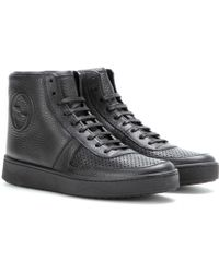 Gucci Black Leather Hightops - Lyst