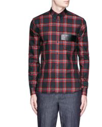 Givenchy | Star Leather Band Tartan Plaid Shirt | Lyst