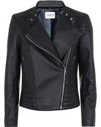 Nicole Farhi Foxglove Leather Biker blue - Lyst