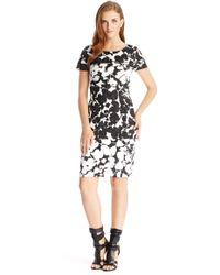 Hugo Boss Devida | Stretch Cotton Blend Textured Floral Dress - Lyst