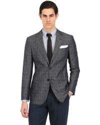 Giorgio Armani Silk Cotton Blend Checked Jacket - Lyst