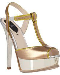 Fendi Sta T-Strap Platform Sandals - Lyst