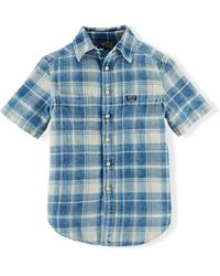 Ralph Lauren Indigo Plaid Cotton Workshirt - Lyst