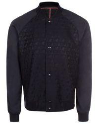 Paul Smith | Men's Black 'ink Palm' Jacquard Wool-blend Bomber Jacket | Lyst