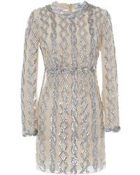 Blumarine Long Sleeve Paillette Sheath Dress - Lyst