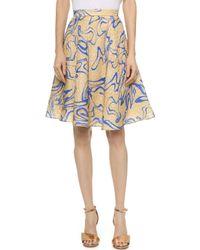 Rodarte Silk Cloque Flare Skirt - Shell/Blue - Lyst