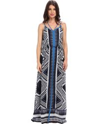 Adrianna Papell Spaghetti Strap Maxi Dress W Diamond Ikat Motif Crossover Back Detail - Lyst