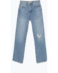Zara Jeans With Ripped Knee blue - Lyst