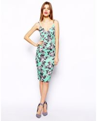 Asos Quilted Floral Bardot Pencil Dress - Lyst
