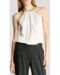 Halston Heritage Top - Sleeveless Ruched Neck - Lyst