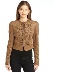 BCBGMAXAZRIA Jute Brown Stretch Woven Microsuede Skyler Jacket - Lyst