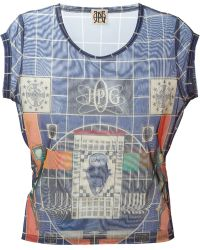 Jean Paul Gaultier 'Jpg' Sheer Print Top - Lyst