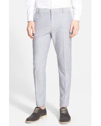 Topman Blue Oxford Skinny Fit Suit Trousers blue - Lyst