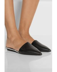 Narciso Rodriguez - Athena Watersnake-trimmed Leather Point-toe Flats - Lyst