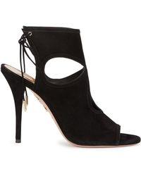 Aquazzura - Sexy Thing Black Suede Sandals - Lyst