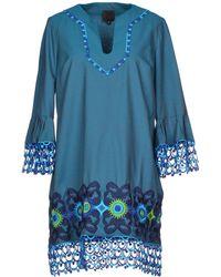 Anna Sui Short Dress teal - Lyst