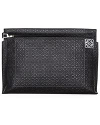 Loewe Large Embossed Calfskin Pouch - Lyst