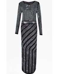 French Connection Diana Swirl Sequin Maxi Dress black - Lyst