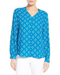 Pleione | High/low V-neck Blouse | Lyst