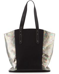 Romy Gold - Iridescent Snake-embossed Colorblock Tote Bag - Lyst