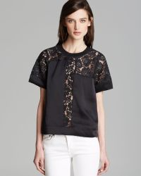 Rebecca Taylor Top Short Sleeve Lace Inset - Lyst