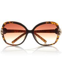 River Island Brown Animal Print Square Sunglasses - Lyst