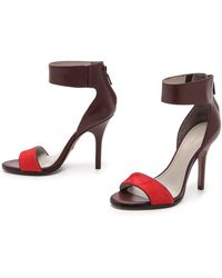 Pour La Victoire Yara Sandals with Haircalf Band  Red Wine - Lyst