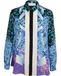 Peter Pilotto Geometric Floral Printed Silk Shirt - Lyst