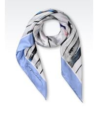 Giorgio Armani Satin Scarf with Multicoloured Design - Lyst