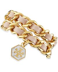 Tory Burch Woven Leather Chain Wrap Bracelet Light Oakgolden - Lyst