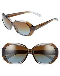 Tory Burch 57Mm Polarized Retro Sunglasses - Lyst
