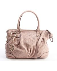 Gucci Pink Ssima Leather Top Handle Tote - Lyst