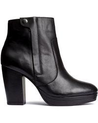 H&M | Leather Platform Boots | Lyst