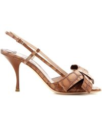 Miu Miu Embossed Leather Slingback Pumps - Lyst
