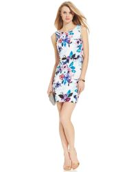 Ivanka Trump Floral-Print Crepe Sheath Dress - Lyst